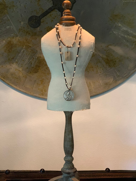 Love Tokens Pearl and Macrame Necklace w/ Large Sterling Pendant