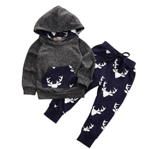 Moose Print Hoodie and Pants Set