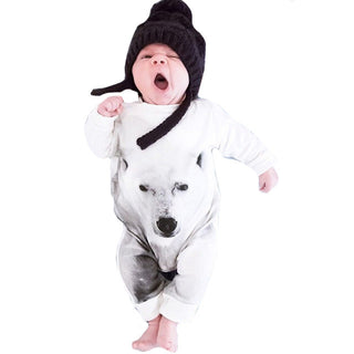 Baby Boy White Wolf Rompers