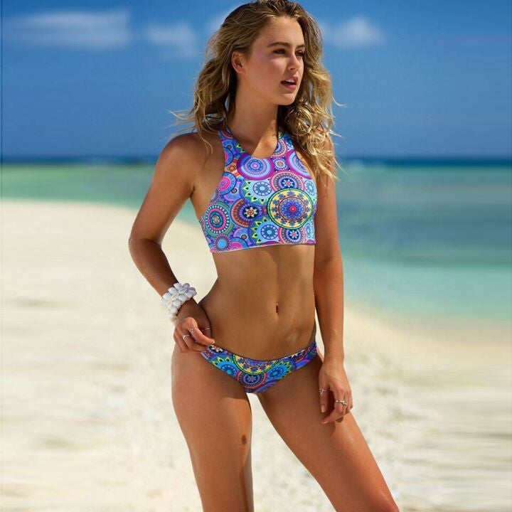 Mix Print High Neck Bikini