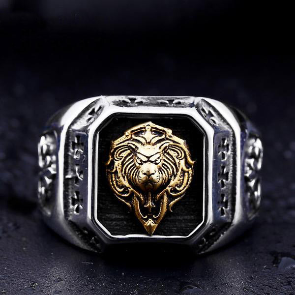 Gold Lion's Head Ring