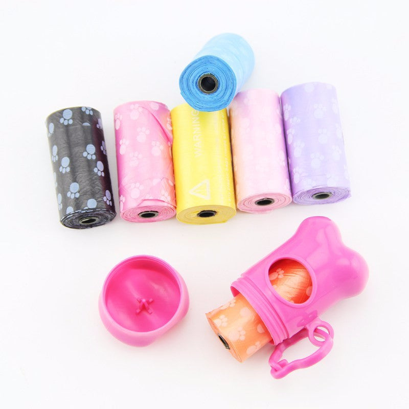1 Set Of 4 roll (60pcs) Dog Poop Bags PLUS 1 Bone Dispenser