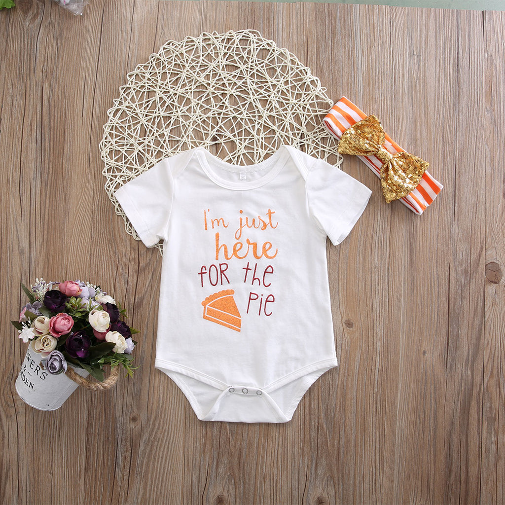 """I am just here for the Pie"" Jumpsuit For Baby Girl"