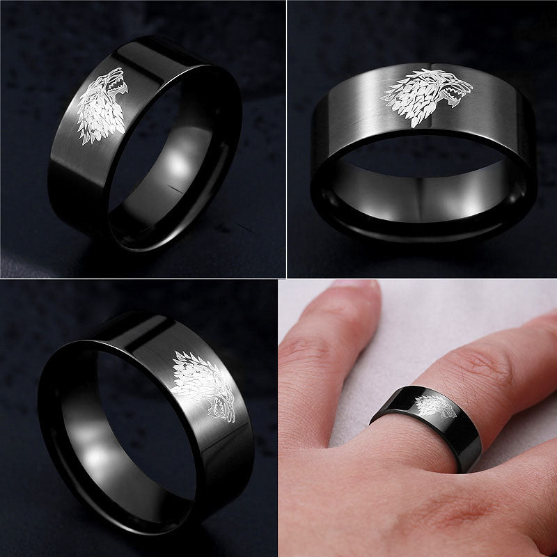 Game of Thrones Ice Wolf House of Stark Winterfell Ring Them Deals