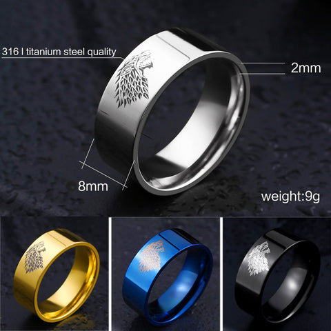 Game of Thrones Ice Wolf House of Stark Winterfell Ring