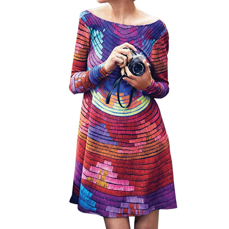 Retro Multi Color Dress