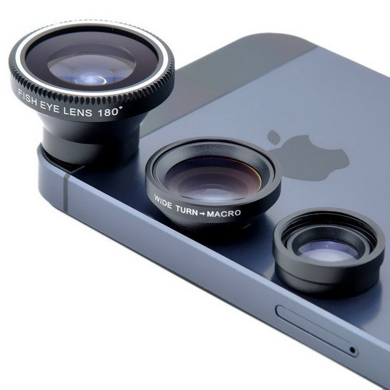 3 in 1 Mobile Phone Clip Fish Eye Lenses