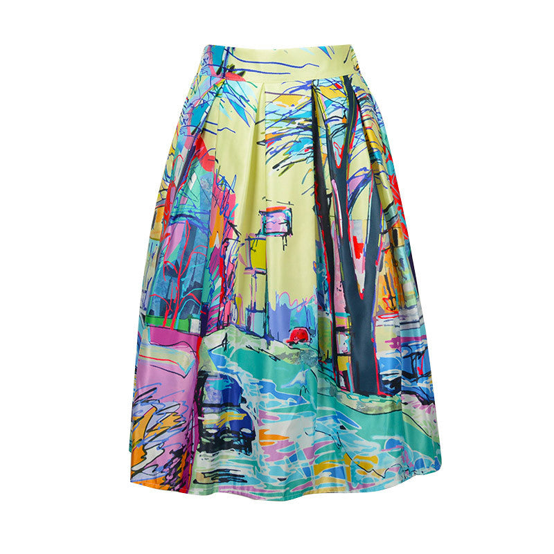 High Waist Retro Printed Skirts
