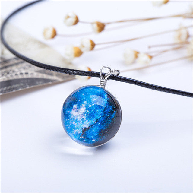 Planets and Galaxy Pendant Necklace