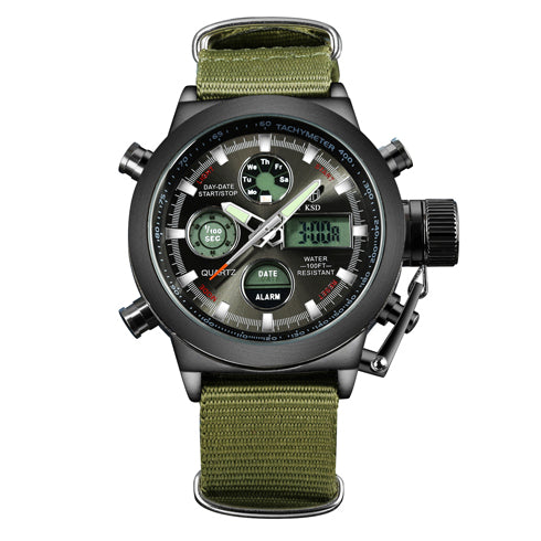 Men Sports Watches with Nylon Strap Digital Analog Watch