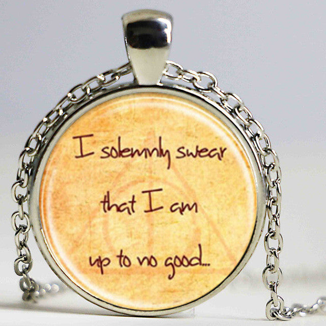 I Solemnly Swear That I Am Up To No Good Glass Cabochon Necklace