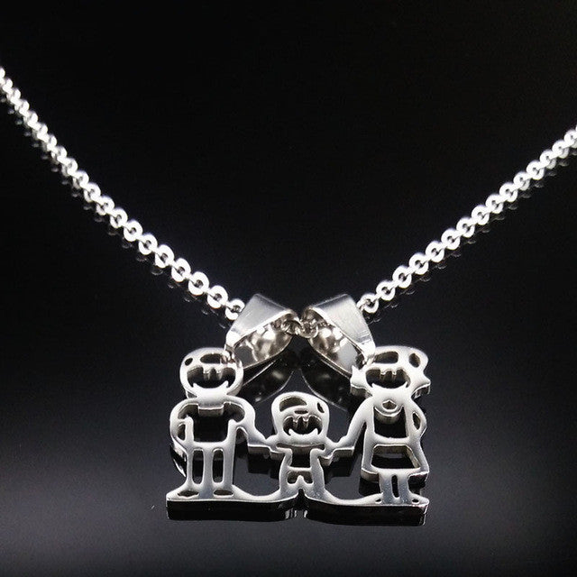 Stainless Steel Family Necklace