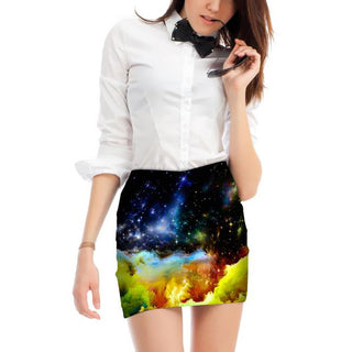 Universe Print Tight Pencil Skirt