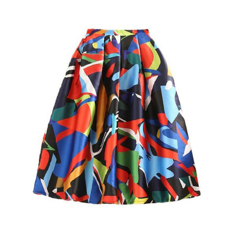 Elegant Geometric Print High Waist Midi Skirt