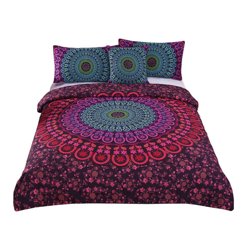 Bedding Set Queen Bedclothes Bohemian Print Duvet Cover Set with Pillowcases 4pcs Bed Set