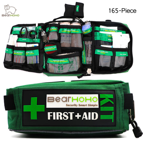 Handy First Aid Kit Bag 165-Piece Lightweight Emergency Medical Rescue Outdoors Car Luggage School Hiking Survival Kits