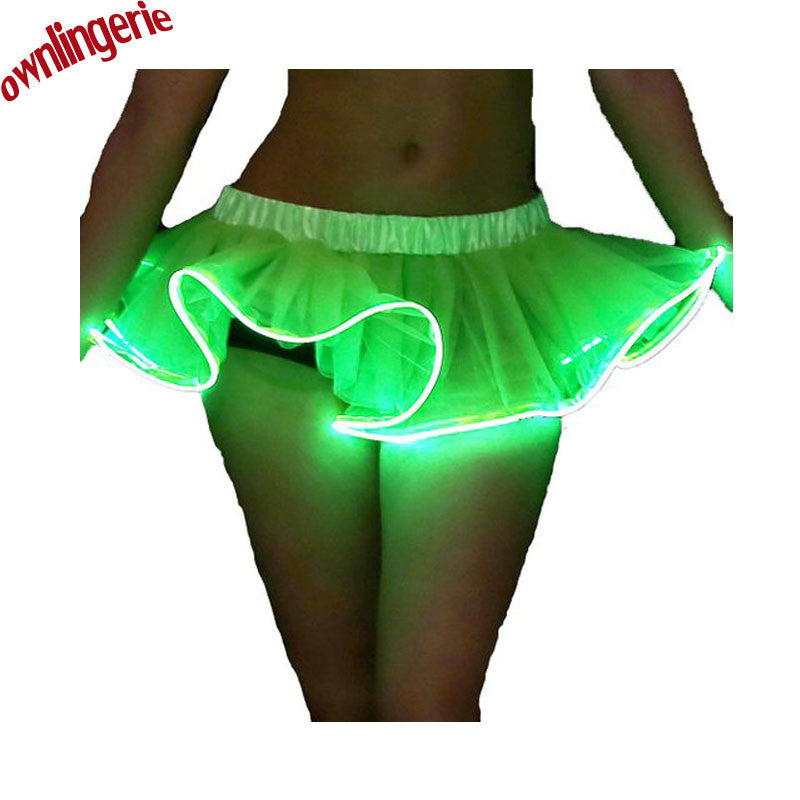 Tutu Mini Solid Short Skirt with Colorful LED Lights