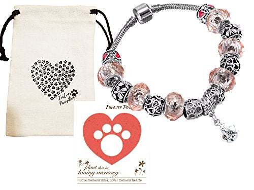 Pink Paw Pet Memorial Bracelet Gift Set, Remembrance Keepsake, Jewelry, Furever Pawsitive, Daily World Finds