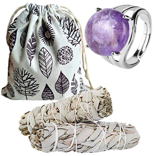 Sage Smudge Kit & Natural Crystal Quartz Stone Rings Gift Set -  5 Choices, Smudge Kit, Worldly Finds, Daily World Finds