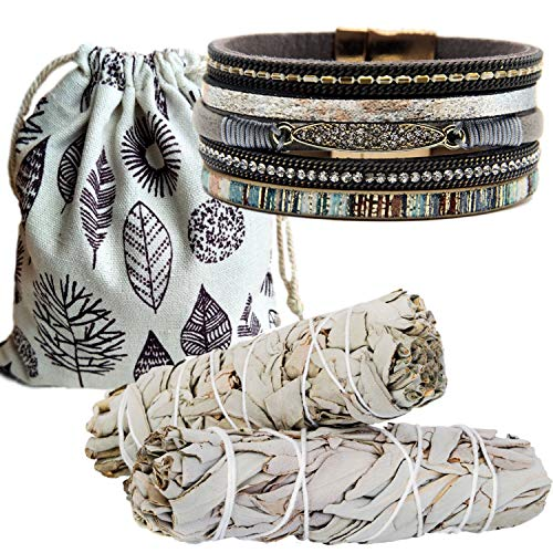 Sage Smudge Kit & Rhinestone Layered Leather Cuff Gift Set, Smudge Kit, Worldly Finds, Worldly Finds