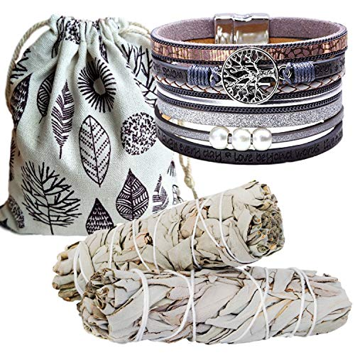 Sage Smudge Kit & Silver Leather Tree of Life Cuff Gift Set, Smudge Kit, Worldly Finds, Worldly Finds