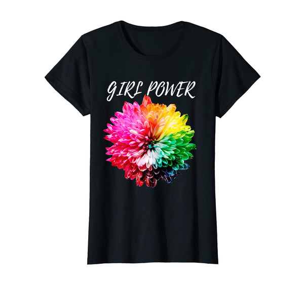 Womens Girl Power Floral Shirt Flower Tie Dye T-Shirt -10 Colors, T-shirt, Worldly Finds, Worldly Finds