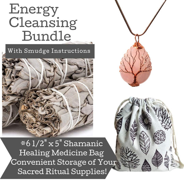 Sage Smudge Sticks Kit & Rose Quartz Crystal Tree of Life Necklace Set, Smudge Kit, Worldly Finds, Daily World Finds