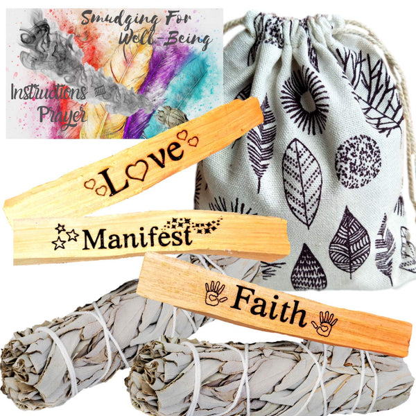 Palo Santo and Sage Engraved Manifest LOVE Spell Ritual Kit, 7 Piece, Smudge Kit, Worldly Finds, Worldly Finds