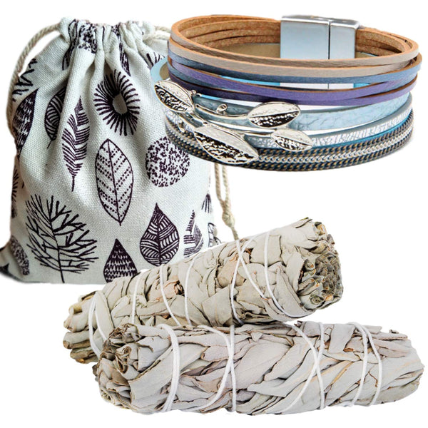 Sage Smudge Stick Kit & Sage Leaf Blue Leather Bracelet Gift Set, Smudge Kit, Worldly Finds, Daily World Finds
