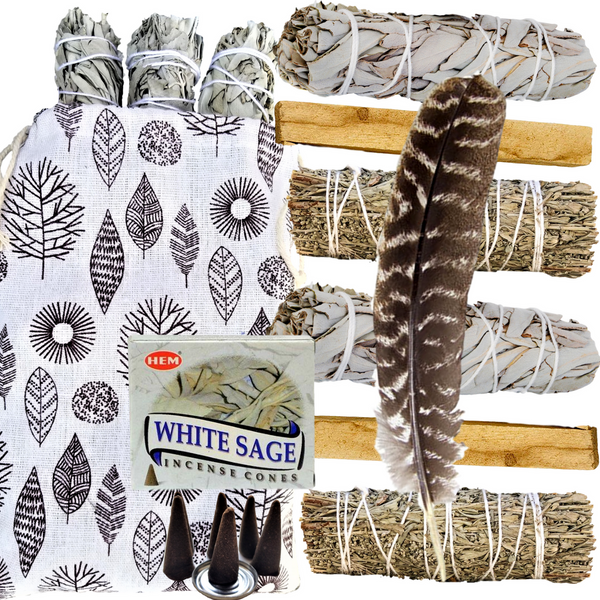 Sage Kit - 9 Spiritual Smudge Kit Gifts for Cleansing: White & Blue Sage, Palo Santo,Incense, Smudge Feather, Smudge Kit, Worldly Finds, Worldly Finds