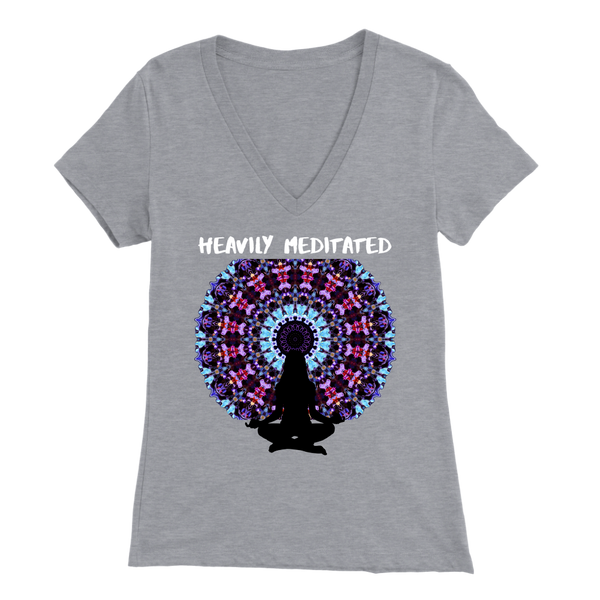 Heavily Meditated Shirt, Yoga T Shirt, V-Neck, Mandala Meditation Shirt - 4 Colors, V-Neck T Shirt, teelaunch, Worldly Finds