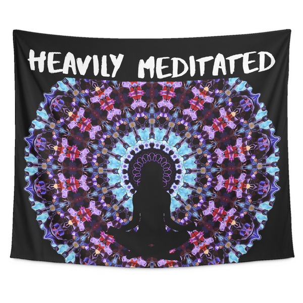 "Heavily Meditated Yoga Tapestry, Mandala Wall Hanging Decor,Zen,Om,Meditation Wall Art 60""x51"", Tapestries, teelaunch, Worldly Finds"
