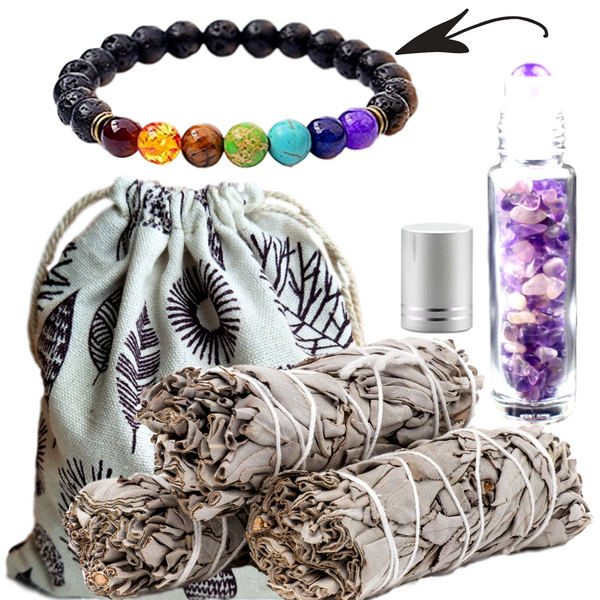 Sage Smudge Sticks & 6 Gemstone Choices Crystal Roller Bottle and Chakra Bracelet Gift Set