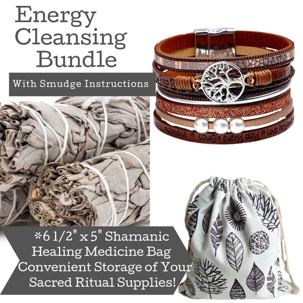 Sage Smudge Kit & Tree of Life Brown Leather Cuff Gift Set, Smudge Kit, Worldly Finds, Daily World Finds