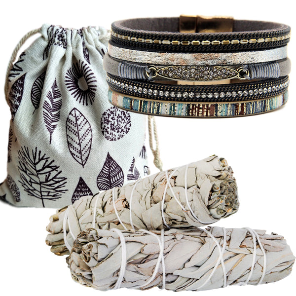 Sage Smudge 2 Stick Gift Set - Beautiful Smudge Gift - Leather Wide Wrap Rhinestone Cuff, Magnetic Clasp,Instructions,Supply Bag!