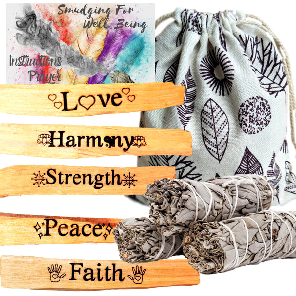 10 PIECE Sage Bundles & Palo Santo Etched Set with Intentions, Ritual Incense Kit,Smudge Prayer Gift Kit - Engraved Palo Santo Holy Wood
