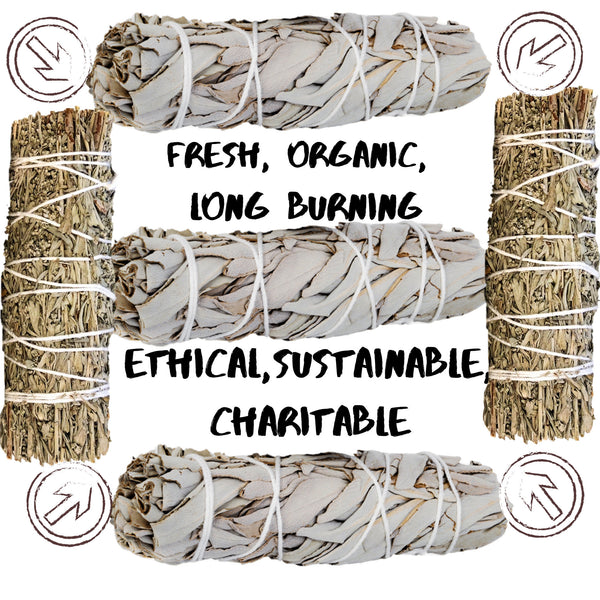 SAGE SMUDGE Sticks Bundles Refill: White Sage & Blue Sage Bulk Combo, Shaman Smudge Kit Storage Bag, Smudging Sticks, Organic Freshly Dried!