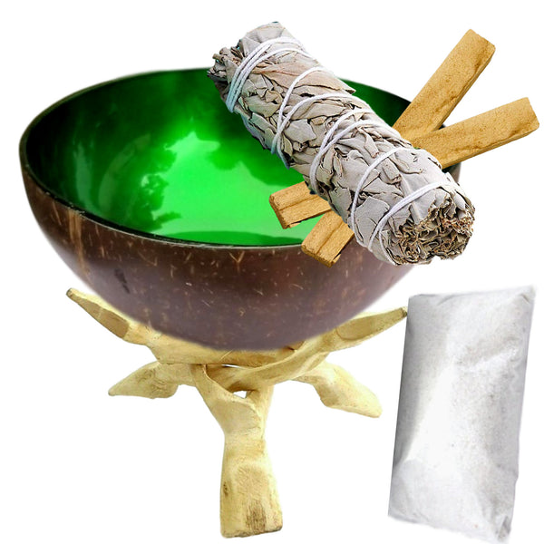 Smudge Kit - Natural Coconut Shell Scrying Smudge Bowl, White Sage Stick, White Sand, 2 Palo Santo, Eco-Friendly, Hand-Painted, 8 Gifts Set