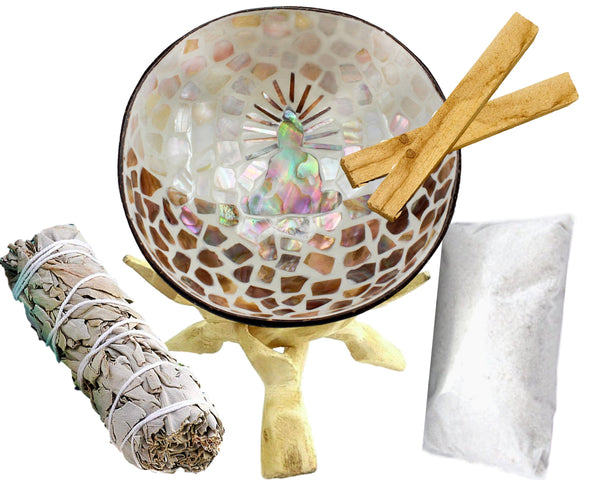 Smudge Kit - 5 Design Choices - Natural Coconut Shell  Smudge Bowl Set, White Sage Stick, White Sand, 2 Palo Santo,Eco-Friendly,Smudging Kit
