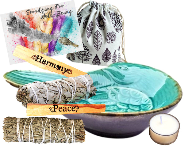 Peace & Harmony Smudge Kit - Ceramic Turquoise Dove Smudge Bowl 8 Gift Smudging Set, Etched Palo Santos, White and Blue Sage w/ Rose Candle