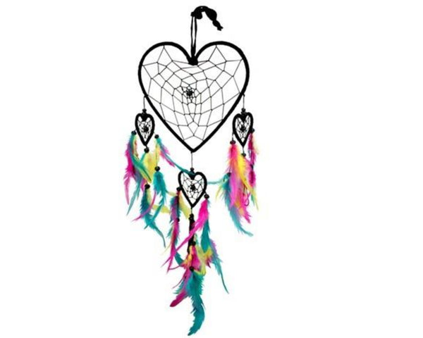 Heart Dream Catcher, Chakra Dreamcatcher Wall Hanging, Colorful Girls Room Dreamcatcher Decor, Dream Catcher Gift, Rainbow Dream Catcher
