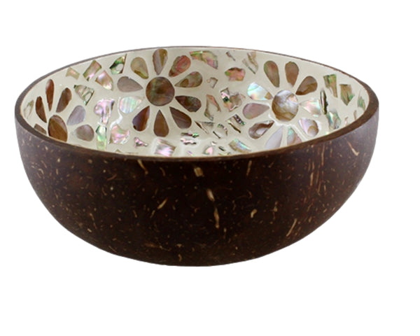 Smudge Bowl - 4 Designs Natural Coconut Shell  Smudging Bowl, Hand-crafted, Eco-Friendly Coconut Bowl, Mother of Pearl Designs w/Wood Stand