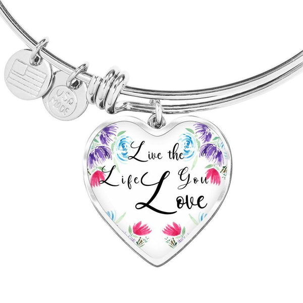 Live The Life You Love Mantra Heart Charm Pendant Bangle Inspirational Bracelet,Adjustable, Love Jewelry, Quote Heart Charm Bracelet Gift
