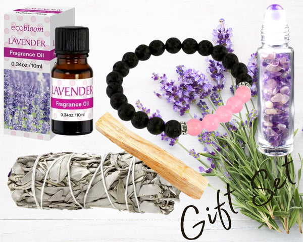 3 Aromatherapy Gift Set Choices! 5 Piece Essentials: Fragrance Oil, Gemstone Roller Bottle, Diffuser Bracelet Set, White Sage, Palo Santo