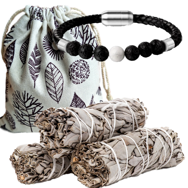 Sage Smudge Energy Cleansing & Lava Stone Diffuser Bracelet Set, Smudge Kit, Worldly Finds, Worldly Finds