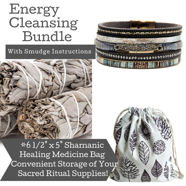 Sage Smudge Kit & Rhinestone Layered Leather Cuff Gift Set, Smudge Kit, Worldly Finds, Daily World Finds