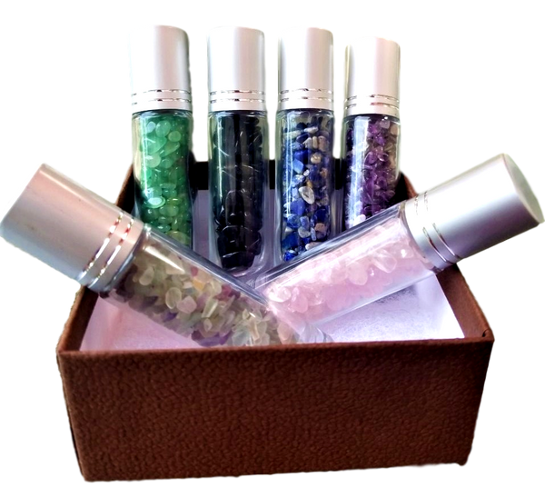 Gemstone Roller Bottle Gift, 6 Choices - DIY Gemstone Essential Oil Roller Bottles, Chakra Diffuser