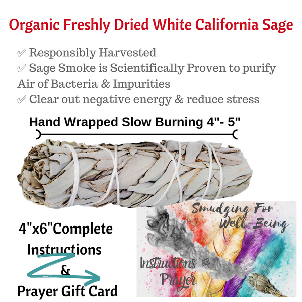 Sage Smudge Sticks Chakra 3 White Sage Kit, Chakra Bracelet,Instructions, Bag!, Smudge Kit, Worldly Finds, Worldly Finds