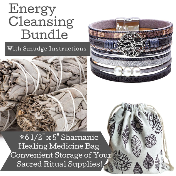 Sage Smudge Kit & Silver Leather Tree of Life Cuff Gift Set, Smudge Kit, Worldly Finds, Daily World Finds