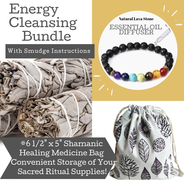 "Sage Smudge Stick Set 3-4"" Smudging Sticks, Bonus Chakra Bracelet w/Storage Bag, Home Decor, Worldly Finds, Daily World Finds"
